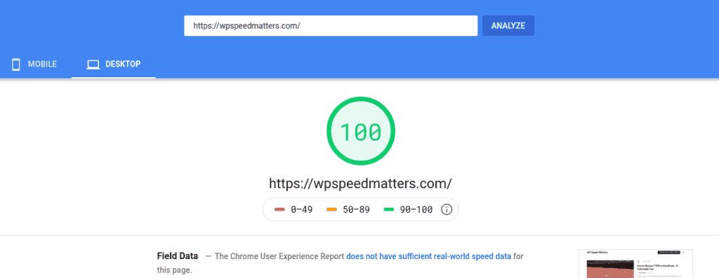 pagespeed score