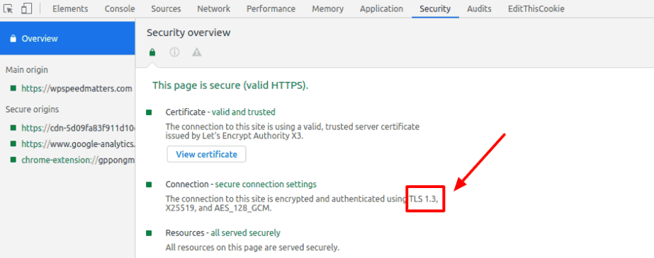 chrome dev tools security tls