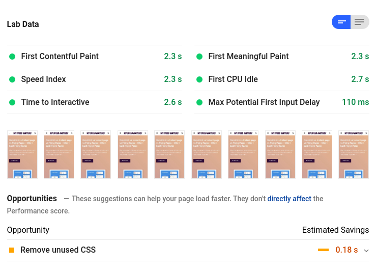 pagespeed insights mobile score
