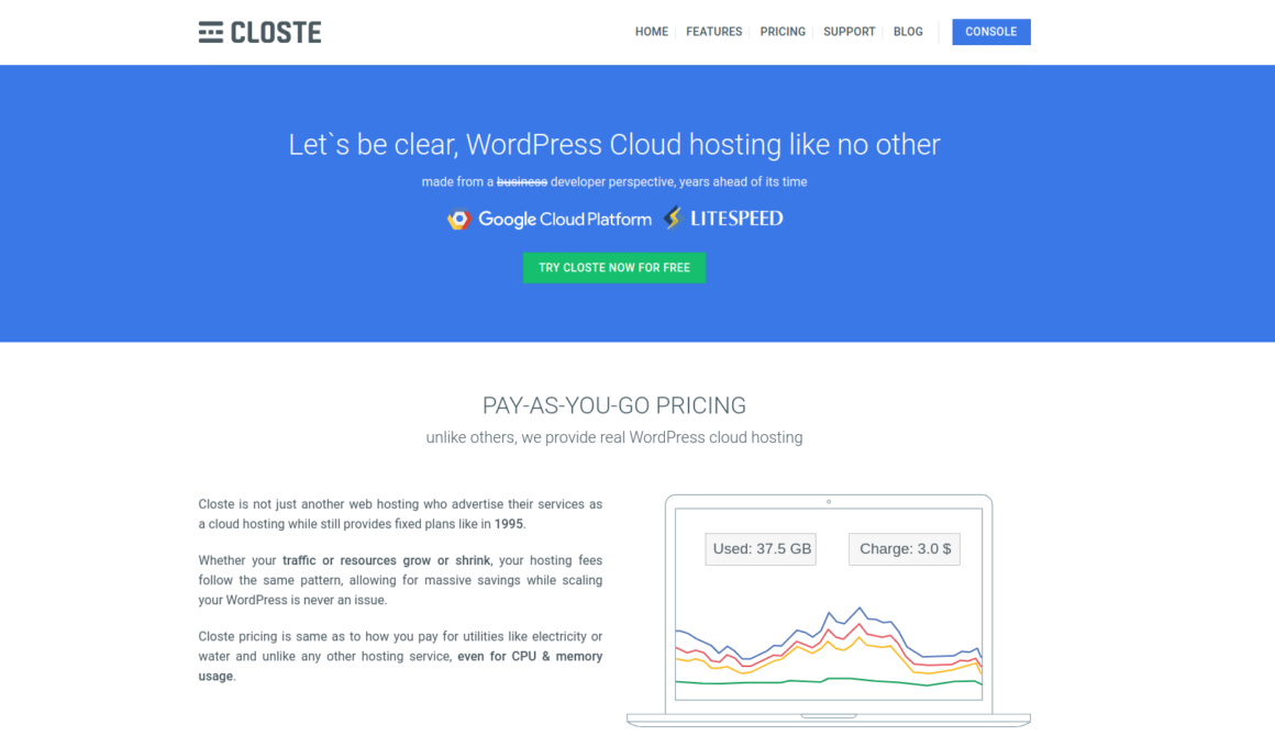 Closte home page