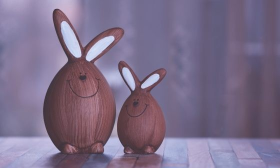 two brown and white rabbit figurines 2156261